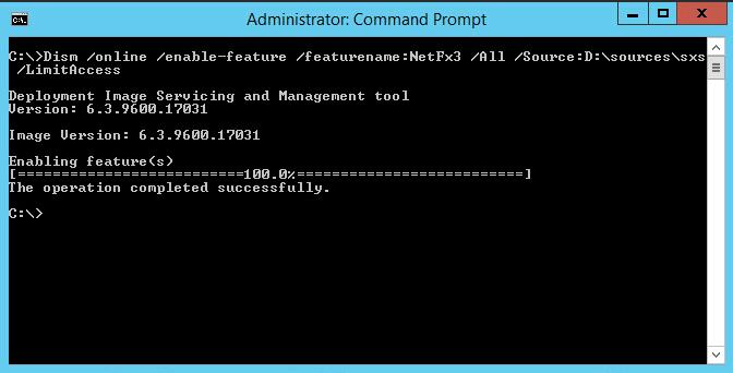 .Net 3.5 command line installation