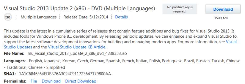 VS studio professional 2013 Update 2 (x86)