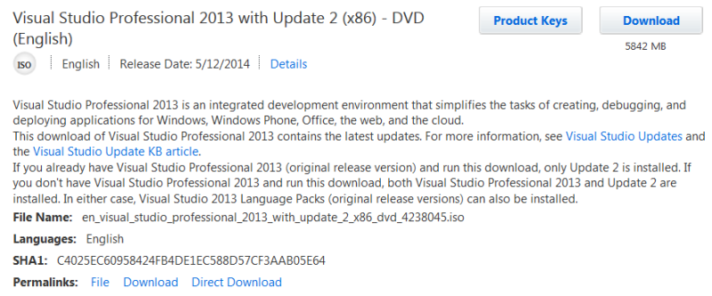 VS studio professional 2013 with Update 2 (x86)